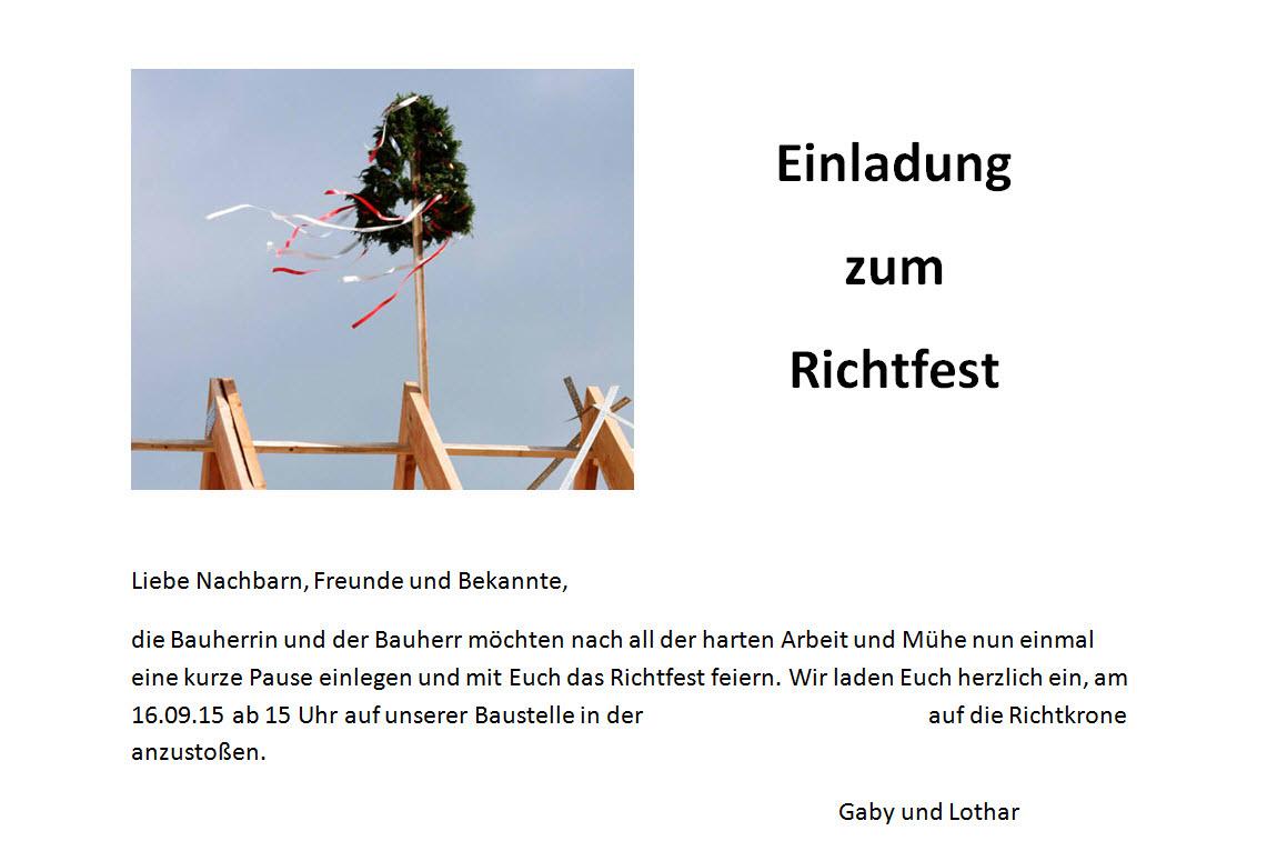 der dachstuhl wird demnächst gerichtet | von berlin nach borsdorf, Einladung